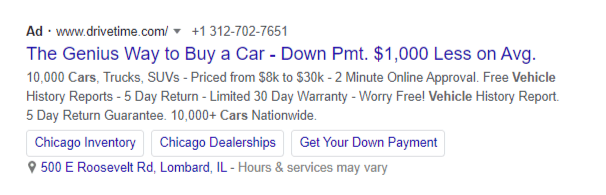 Inserting the lines of extensions in google search ad