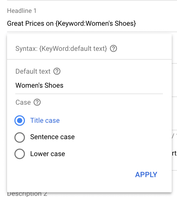Inserting keywords in Google search ads campaigns