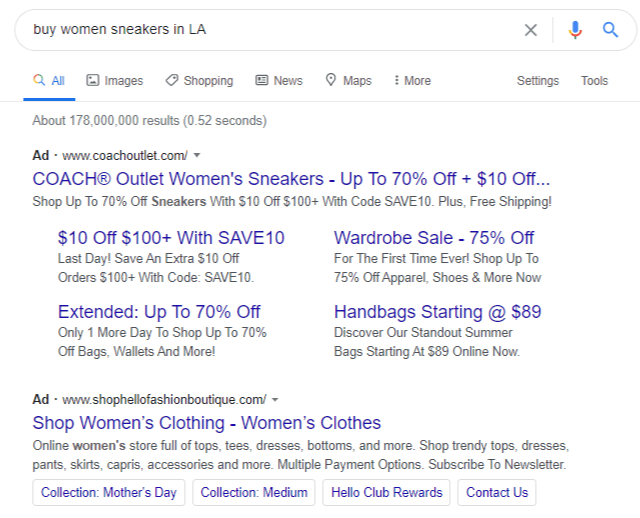 Creating Google Search ad